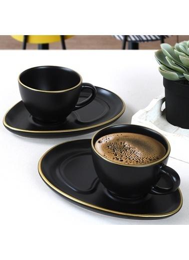 Keramika Mat Siyah Fileli Damla Atıştırmalık 4 Parça 2 Kişilik Renkli